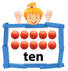 Girl with number ten banner vector