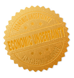 Gold economic uncertainty medal stamp vector