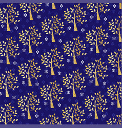 gold glitter tree and snowflake pattern on blue vector image