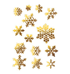 golden snowflakes isolated elements set for vector image