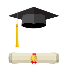 Graduation cap and rolled diploma scroll vector