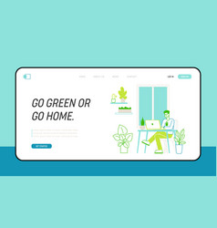 Green office landing page template business man vector