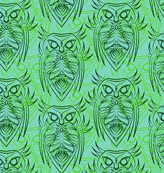 Green owls seamless pattern vector image