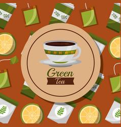 Green tea foral ceramic cup and lemon teabag vector