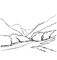 hand drawn of mountain vector image