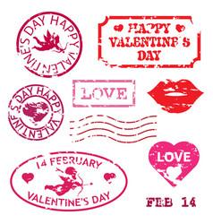 happy valentines day grunge stamp vector image