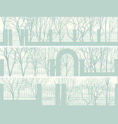 horizontal banners of park with fence vector image