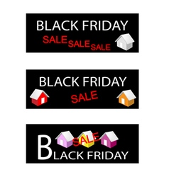 House on Three Black Friday Sale Banners vector