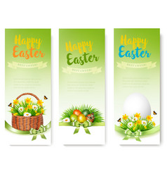 Hree easter sale banners colorful eggs and spring vector