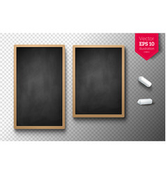 Isolated vertical menu boards with chalk pieces vector