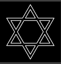 jewish star of david white color icon vector image