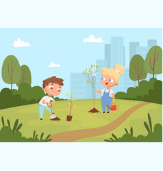 Kids planting background natural eco outdoor vector