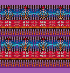 knitting pattern in style fair isle bright vector image