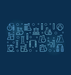 laboratory equipment outline blue modern vector image