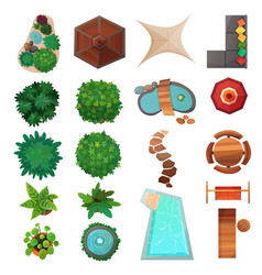 Landscape design top view set vector