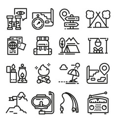 line adventure icon set vector image