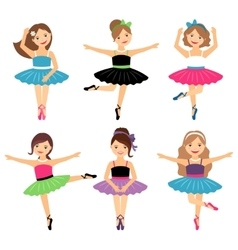 Little ballerina girls set vector
