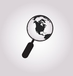 magnifying glass globe icon in trendy design vector image