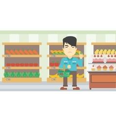 Man refusing junk food vector