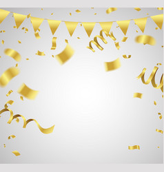 Many falling luxury golden confetti and ribbon vector