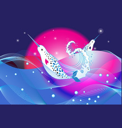 marine bright background with narwhal vector image