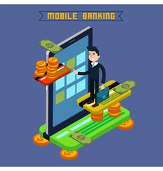 Mobile Banking Isometric Concept Online Payment vector image