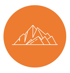 Mountain peaks icon in thin line style vector