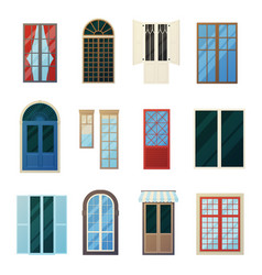 muntin bars window panels icons set vector image