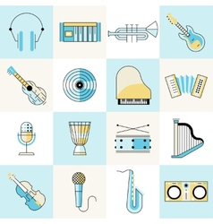 Musical instruments flat line set vector