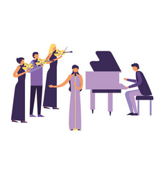 Musicians concert classic people with instruments vector