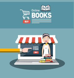 online book store flat design with books and vector image
