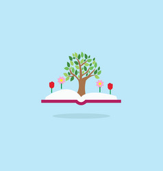 open book with tree and flowers inspiration vector image