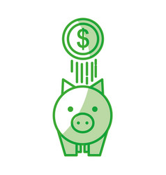 piggy savings with coins vector image
