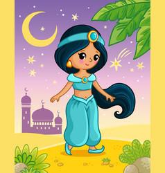 Princess jasmine stands on sand against vector