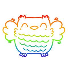 Rainbow gradient line drawing cartoon owl vector