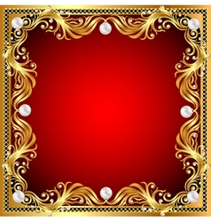 red background with pearls gold ornaments vector image