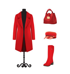 Red women set coat hat bag and boots vector