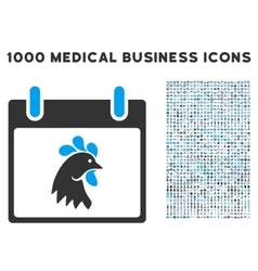 Rooster Head Calendar Day Icon With 1000 Medical vector
