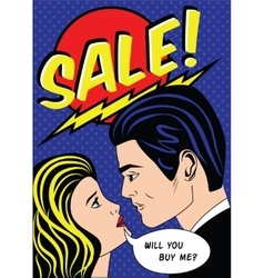 Sale banner with man and woman in american comic vector image