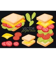 Sandwich on black background vector
