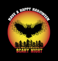 Scary night halloween t-shirt design vector