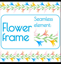 Seamless brush for a photo frame of flowers vector