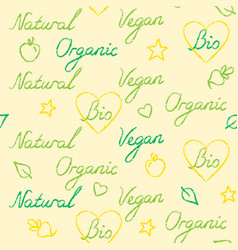 seamless pattern with hand drawn organic text vector image