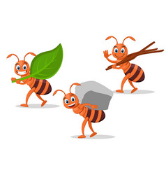 Set ants carry leaf stone and tree branches vector