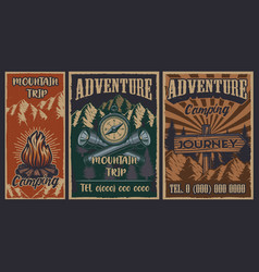 set color vintage posters on theme of vector image