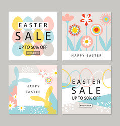 set of cards easter sale backgrounds with hand vector image