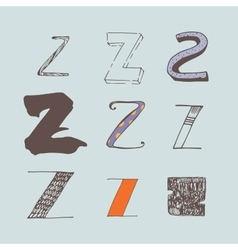 Set of colorful alphabet letters Z vector