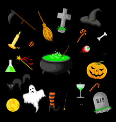 set of halloween objects isolated on black vector image