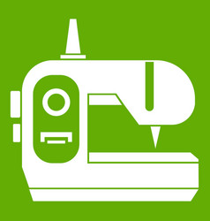 Sewing machine icon green vector
