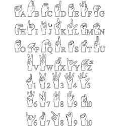 Sign Language A To Z Numbers Hands Pack Lineart vector image